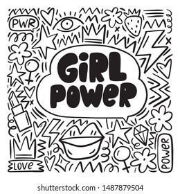 Handwritten lettering quote  - girls are power. Doodle abstract background - hearts, lips, lipstick, crown, lightning, strawberries.
