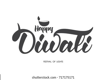 Handwritten lettering type composition of Happy Diwali with lamp. Vector illustration
