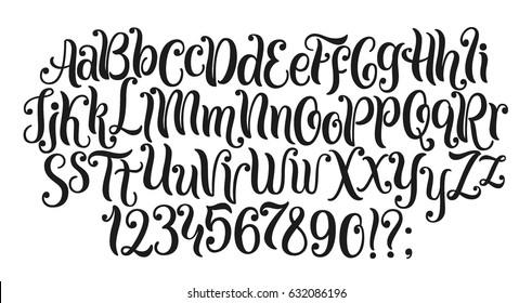 Handwritten lettering vector font aphabet