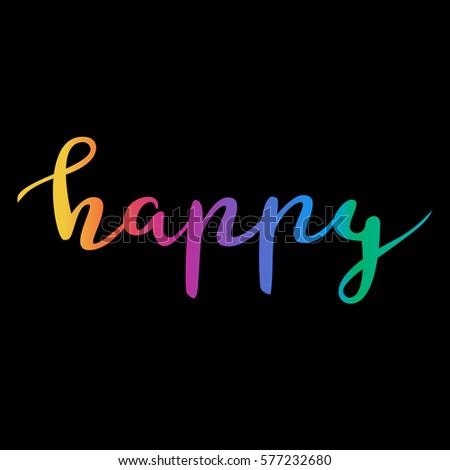 handwritten lettering word happy rainbow color stock vector royalty