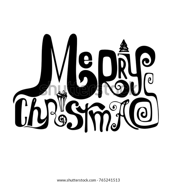 Merry Christmas No Background.Handwritten Letters Merry Christmas On Transparent Stock