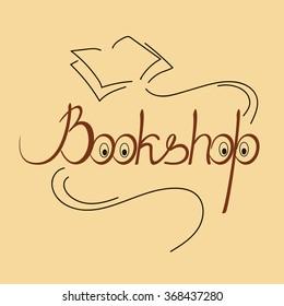 Handwritten logo for bookshop. Lettering. Vector.