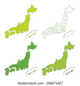 Handwritten map of Japan
