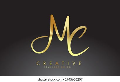Handwritten MC M C Letters Logo. MC M C Sign with Golden Wire Effect. Creative Vector Illustration with letters M and C.