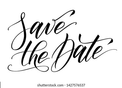 Handwritten modern brush calligraphy Save the date isolated on white for wedding invitation. Vector illustration.