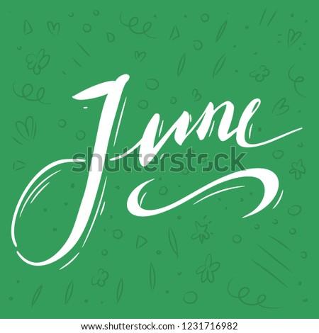 handwritten name month june lettering calendar stock vector royalty
