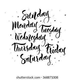 Handwritten names of the days of the Week. Sunday, Monday, Tuesday, Wednesday,  Thursday, Friday, Saturday. Calligraphy words for calendars and organizers.