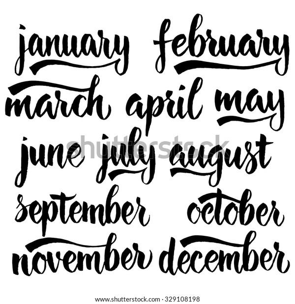 Handwritten Names Months December January February Stock