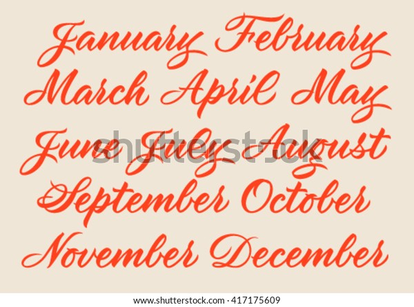 Handwritten Names Months January February March Stock Vector