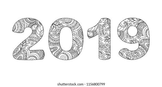 Handwritten number 2019 patterned with zen-tangle shapes, isolated on white. Handwritten font 2019 for decorate calendar, banner, poster, invitation, new year card, adult coloring book. eps 10