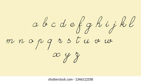 Handwritten old school script font. Latin alphabet, lowercase letters.