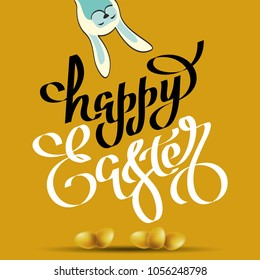 Handwritten phrase of happy easter and with a silhouette of a rabbit. Vector illustration for wallpaper, flyers, invitation, posters, brochure, greeting card, banner.