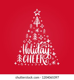 Handwritten phrase Holidays Cheer. Vector Christmas spruce illustration on red background.