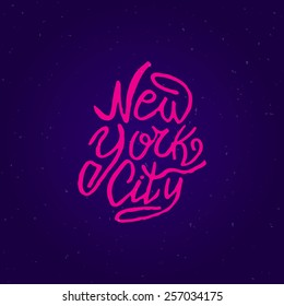 Handwritten phrase New York City. Hand drawn tee graphic. Typographic print poster. T shirt hand lettered calligraphic design. Lettering design. Vector illustration.