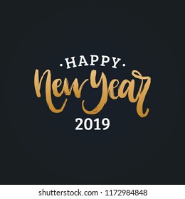 Handwritten phrase, translated from Russian Happy New Year 2019. Vector calligraphy illustration on black background.