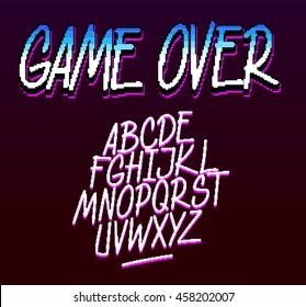 Handwritten pixel font. Hot line Miami like