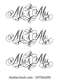 Hand-written with pointed pen and ink and then autotraced traditional wedding words for heterosexual and gay couples.