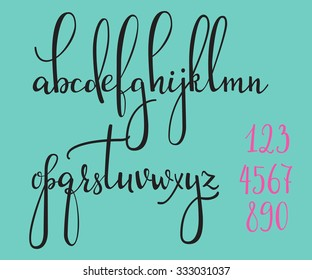 Handwritten pointed pen ink style modern calligraphy cursive font. Calligraphy alphabet. Cute calligraphy letters and figures. Isolated letter elements. Typography, decorative graphic design.