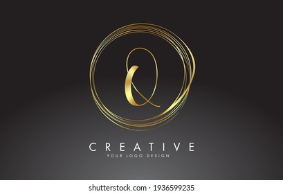 Handwritten Q Golden Letters Logo with a minimalist design. Q Icon with Circular Golden Circles. Creative Stamp Vector Illustration with letter Q.