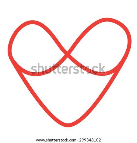 Handwritten Red Infinity Symbol Heart Stock Vector Royalty Free
