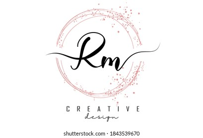 Handwritten Rm R m letter logo with sparkling circles with pink glitter. Decorative vector illustration with R and m letters.
