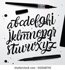 Handwritten Script font. Hand Lettering and Custom Typography art for Designs: Logo, Cards, etc. Vector Brush typeface.