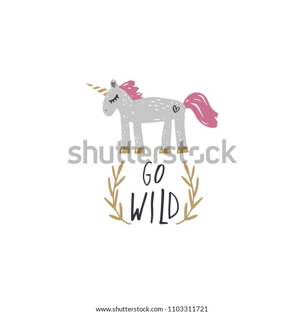 Handwritten sign and unicorn art. Vector, clipart, isolated details. Editable elements.