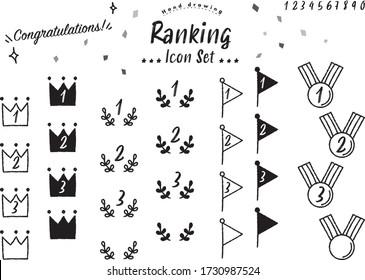 Handwritten style ranking icon set