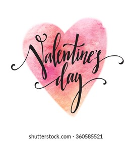 Handwritten Valentines Day calligraphy on red grungy watercolor stain background.  Vector illustration EPS10