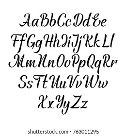 Handwritten vector aphabet. Hand drawn lettering font. Brush script calligraphy cursive type