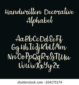 Handwritten vector font. Modern calligraphy alphabet. Lowercase, uppercase. Typography alphabet for your designs: logo, typeface, banner, card, wedding invitation.