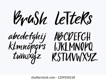 Handwritten Vector Stylized Font and Alphabet. Modern Brush Letters.