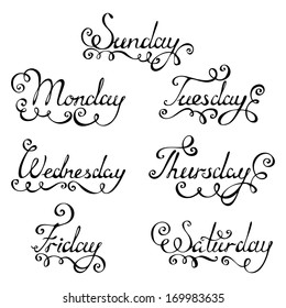Hand-written vector text. Days of week for your design isolated on white background.EPS 8.
