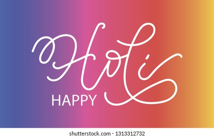 Handwritten white word Holi vector illustration. Hand drawn lettering of Holi on colorful background. Greeting for logotype, badge, icon, card, postcard, logo, banner, tag. Celebration vector EPS 10.