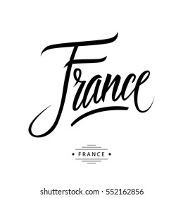 Handwritten word France. Hand drawn lettering. Calligraphic element for your design. Vector illustration.