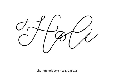 Handwritten word Holi vector lettering. Hand drawn modern calligraphy of Holi on white background. Vector illustration. Vector  for photo overlay or title for party invitations.