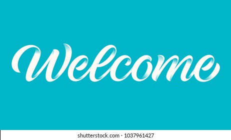 handwritten word welcome, calligraphy, lettering on blue background
