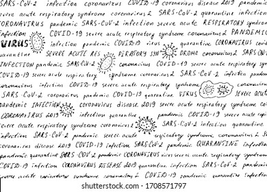 Hand-written words and hand-drawn doodles on the topic of coronavirus. Black and white vintage text with small drawings about SARS-CoV-2 virus. Overlay template. Vector illustration