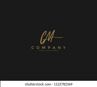 Handwritting Signature Letter CM Logotype
