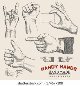 Handy Hands - Vector Hands Set - Vector illustration