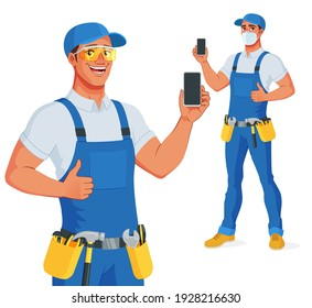 Handyman in bib overalls and protective eyeglasses showing blank vertical smartphone screen with thumb up. Vector cartoon character isolated on white background.