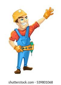 Handyman, builder in helmet pointing to the top. Vector illustrtation isolate on white background.
