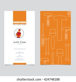 Handyman Business Sign & Business card template. Vector graphics for Handyman & house hold fixing renovation, building & plumbing working tool set. Best quality service concept. Sample text. Editable