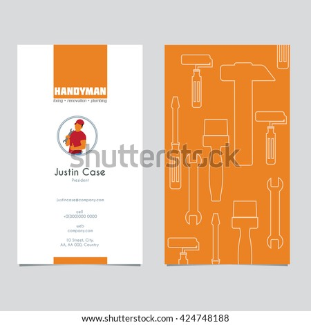 Handyman business sign business card template stock vector royalty handyman business sign business card template vector graphics for handyman house hold fixing friedricerecipe Image collections