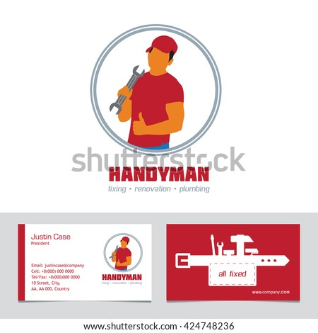 Handyman business sign business card template stock vector royalty handyman business sign business card template vector graphics for handyman house hold fixing accmission Gallery