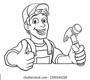 A handyman carpenter or builder cartoon man holding a hammer. Construction maintenance worker or DIY character mascot. Giving a thumbs up and peeking over a sign