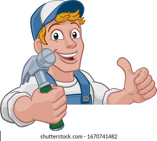 A handyman carpenter or builder cartoon man holding a hammer. Construction maintenance worker or DIY character mascot. Giving a thumbs up and peeking over a sign