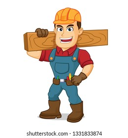 Handyman carrying wood plank cartoon illustration, can be download in vector format for unlimited image size