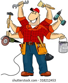 Handyman cartoon character (EPS 8)
