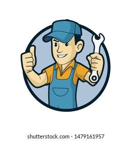 handyman character logo design template